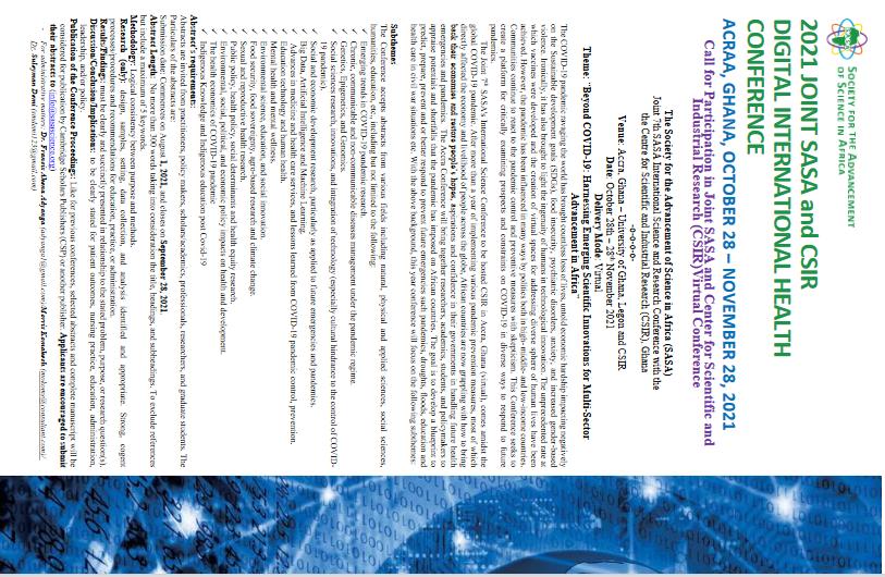 2021 JOINT SASA and CSIR  DIGITAL INTERNATIONAL HEALTH  CONFERENCE